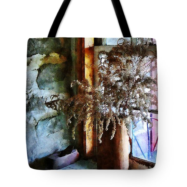 Dried Flowers On Windowsill Tote Bag by Susan Savad
