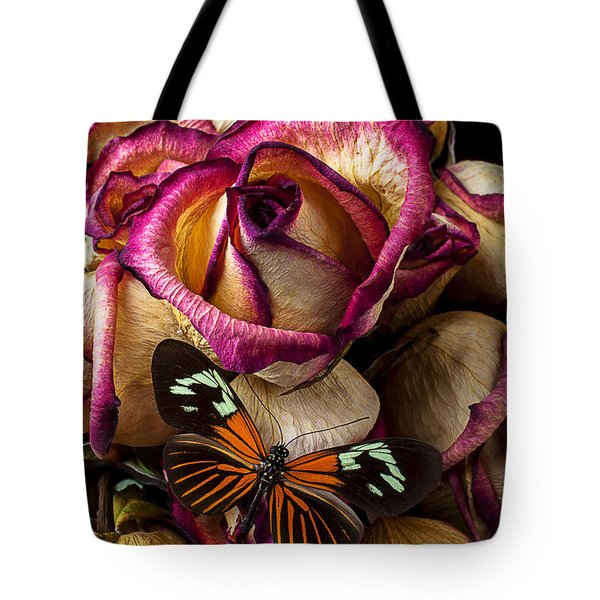 Dried Rose And Butterfly Tote Bag by Garry Gay