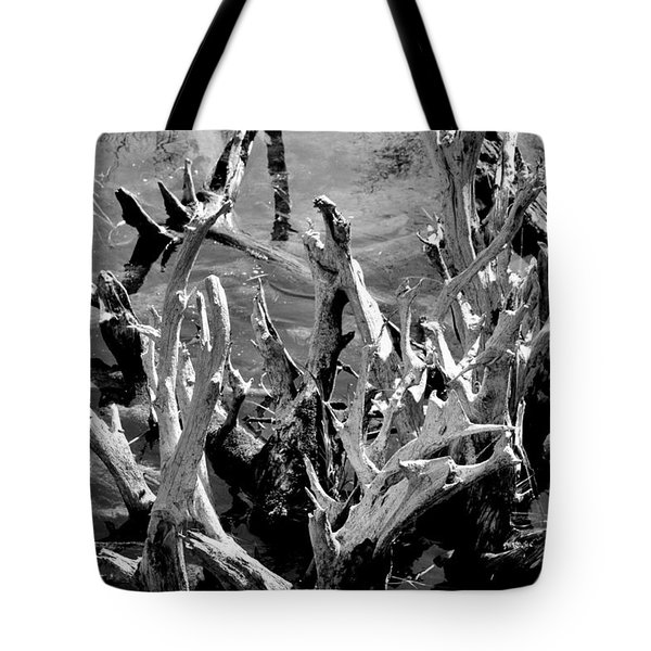 Driftwood on Lost Lake Tote Bag by Michelle Calkins