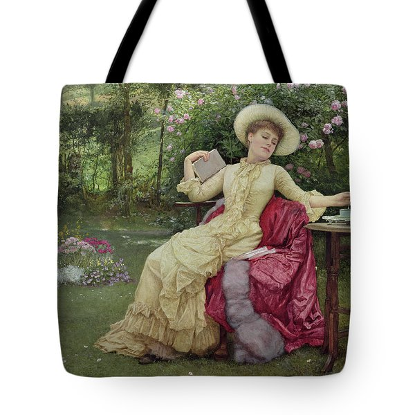 Drinking Coffee And Reading In The Garden Tote Bag by Edward Killingworth Johnson