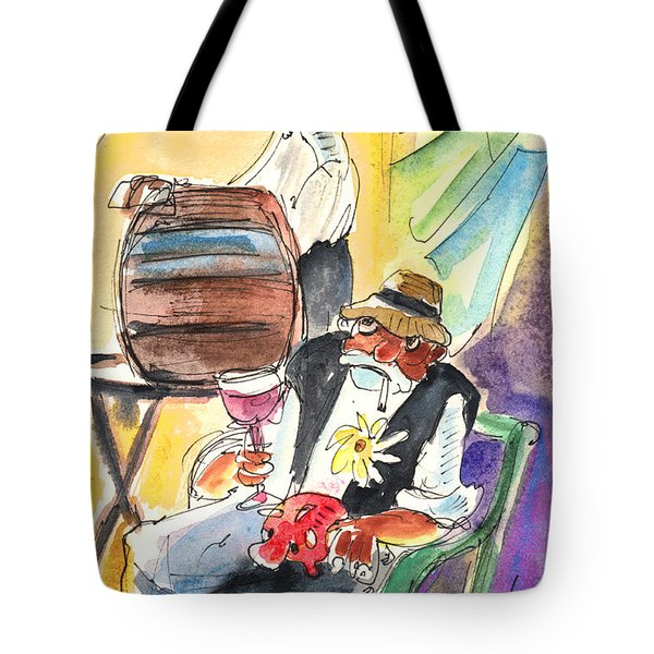 Drinking Wine In Lanzarote Tote Bag by Miki De Goodaboom