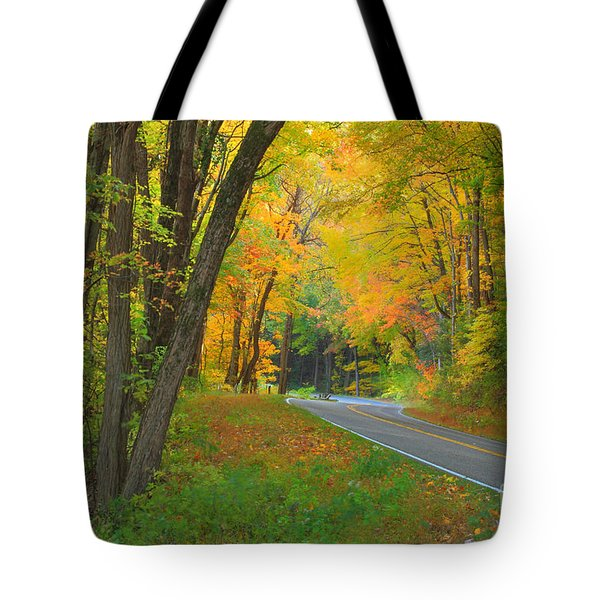 Driving Into Fall Tote Bag by Geraldine DeBoer