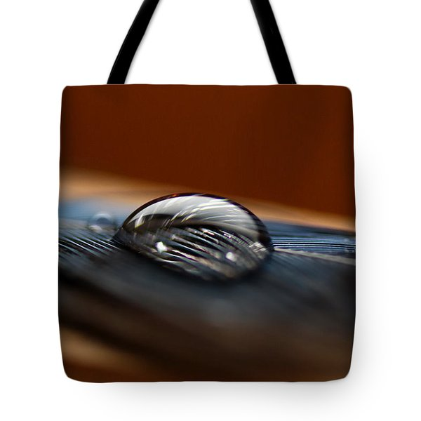 Drop On A Bluejay Feather Tote Bag by Susan Capuano
