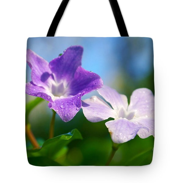 Drops On Violets Tote Bag by Carlos Caetano
