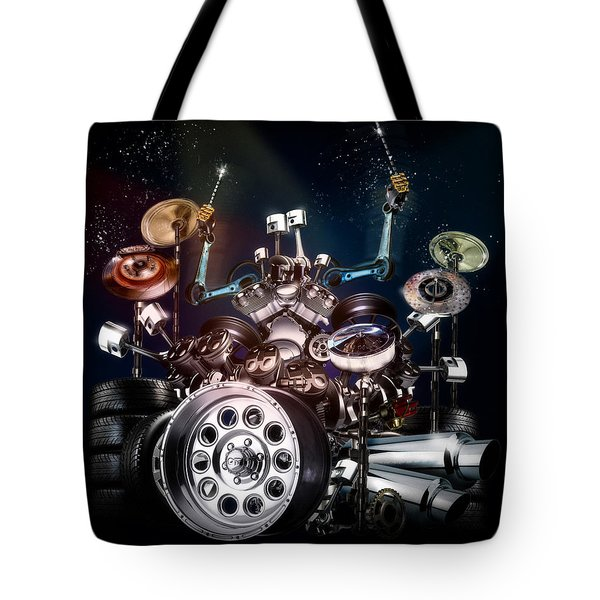 Drum Machine - The Band's Engine Tote Bag by Alessandro Della Pietra