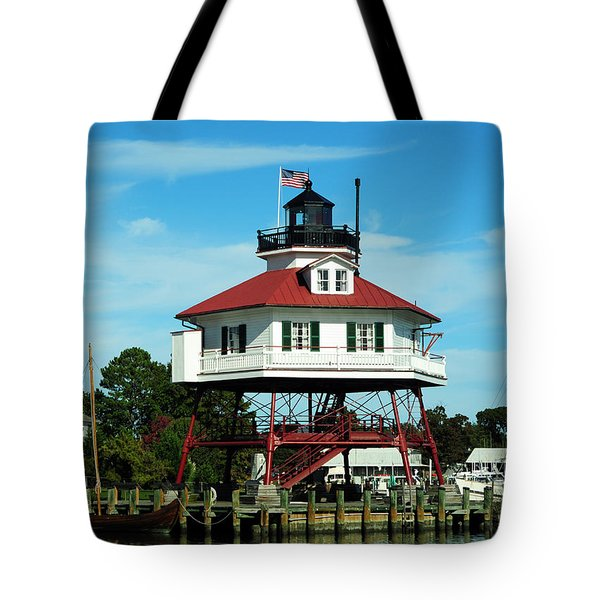Drum Point Lighthouse Tote Bag by Rebecca Sherman