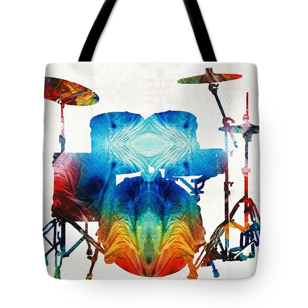 Drum Set Art - Color Fusion Drums - By Sharon Cummings Tote Bag by Sharon Cummings