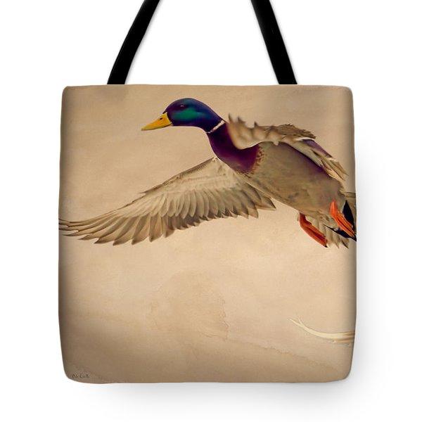 Ducks In Flight Tote Bag by Bob Orsillo