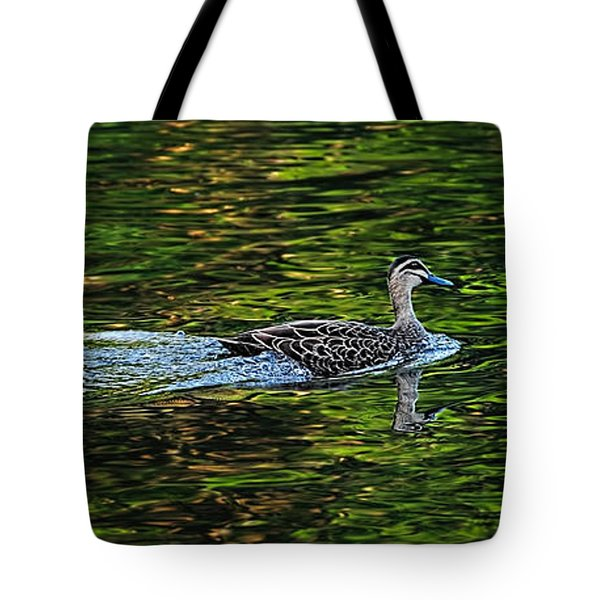 Ducks On Green Reflections - Panorama Tote Bag by Kaye Menner