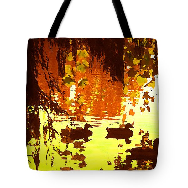 Ducks On Red Lake Tote Bag by Amy Vangsgard