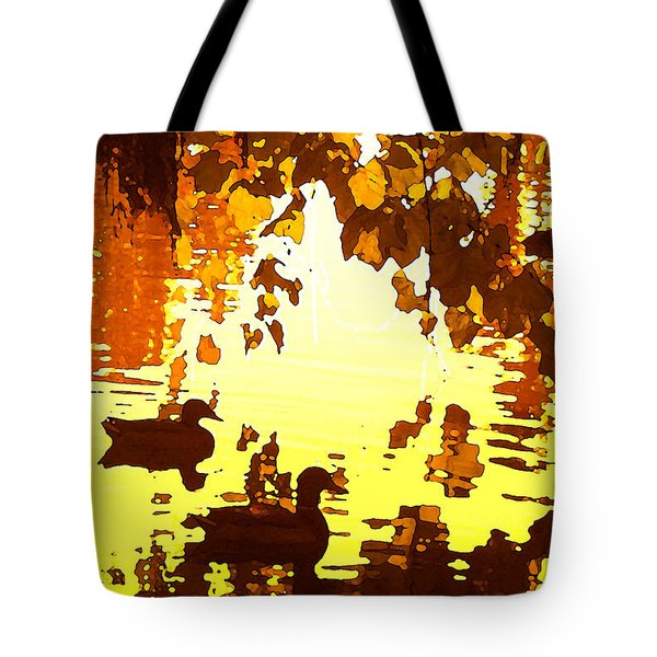 Ducks On Red Lake B Tote Bag by Amy Vangsgard