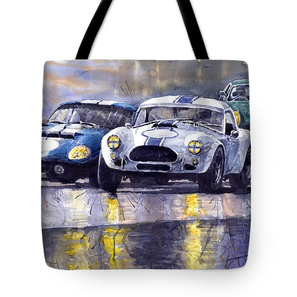Duel Ac Cobra And Shelby Daytona Coupe 1965 Tote Bag by Yuriy  Shevchuk