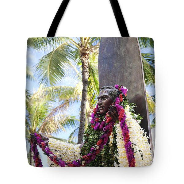 Duke Kahanamoku Covered in Leis Tote Bag by Brandon Tabiolo