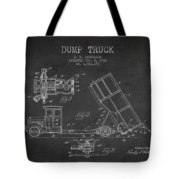 Dump Truck Patent Drawing From 1934 Tote Bag by Aged Pixel