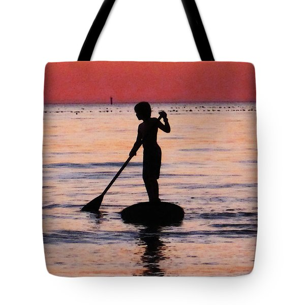Dusk Float - Sunset Art Tote Bag by Sharon Cummings
