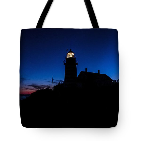 Dusk Silhouette At West Quoddy Head Lighthouse Tote Bag by Marty Saccone
