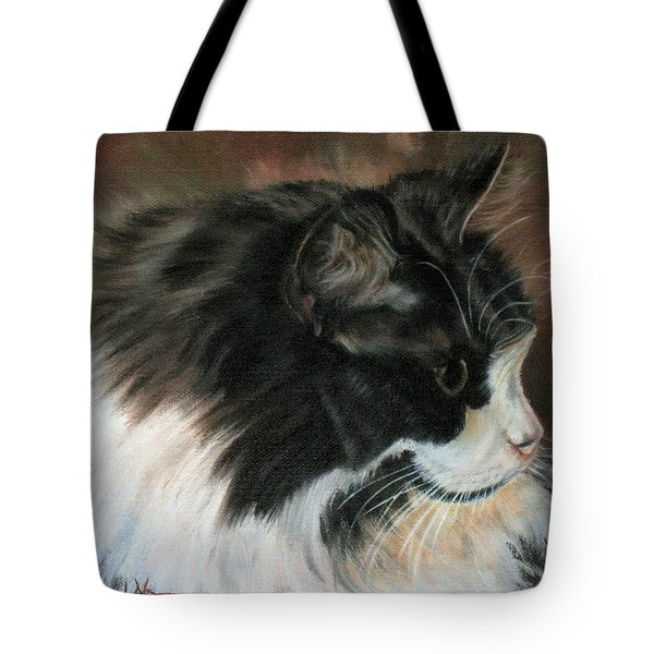 Dusty Our Handsome Norwegian Forest Kitty Tote Bag by LaVonne Hand