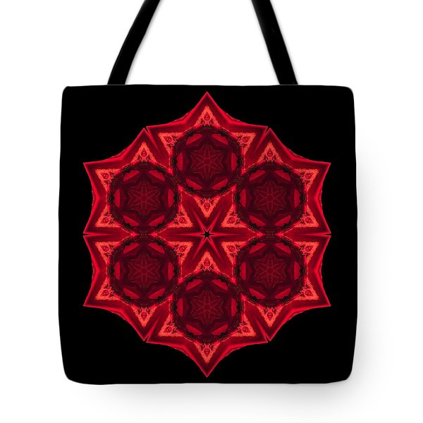 Dying Amaryllis III Flower Mandala Tote Bag by David J Bookbinder