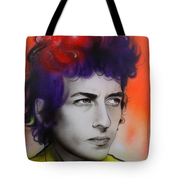 Bob Dylan - ' Dylan ' Tote Bag by Christian Chapman Art