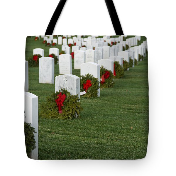 Eagle Point National Cemetery At Christmas Tote Bag by Mick Anderson