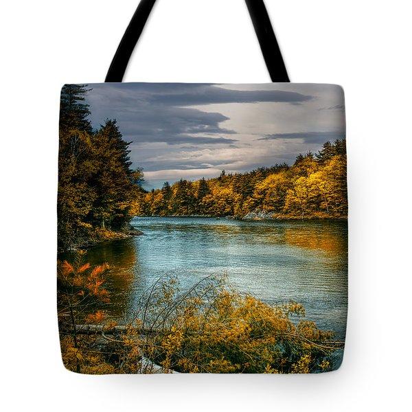 Early Autumn Along The Androscoggin River Tote Bag by Bob Orsillo