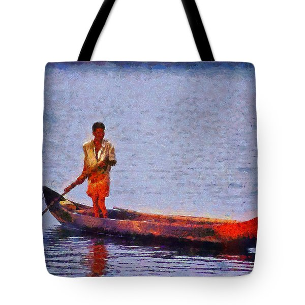 Early Morning Fishing In India Tote Bag by George Atsametakis