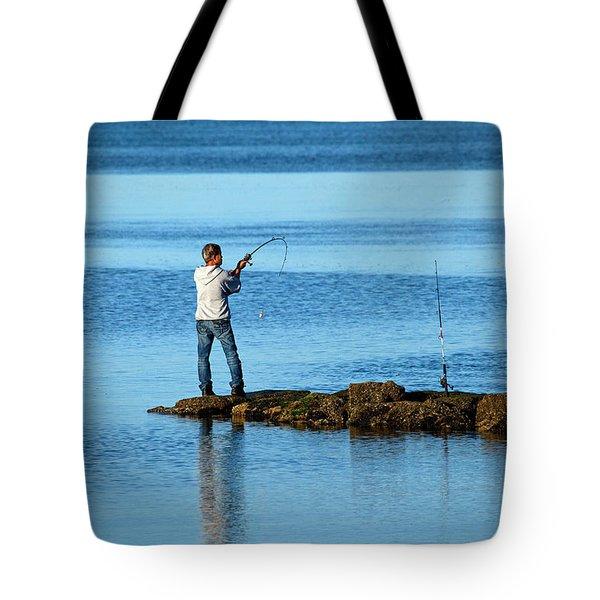 Early Morning Fishing Tote Bag by Karol Livote
