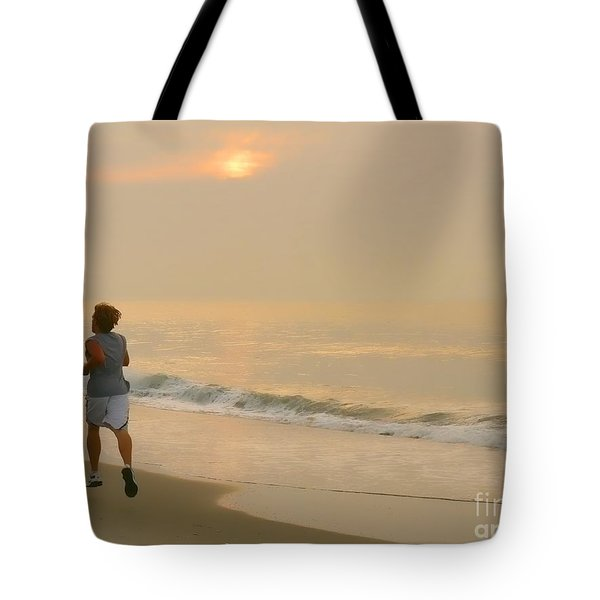 Early Morning Jog Tote Bag by Jeff Breiman