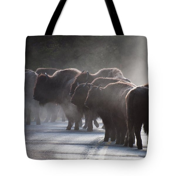 Early Morning Road Bison Tote Bag by Bruce Gourley