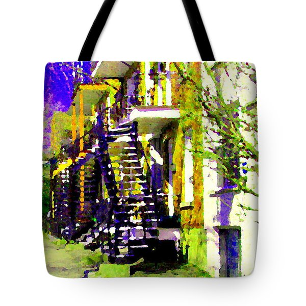 Early Spring Stroll City Streets With Spiral Staircases Art Of Montreal Street Scenes Carole Spandau Tote Bag by Carole Spandau