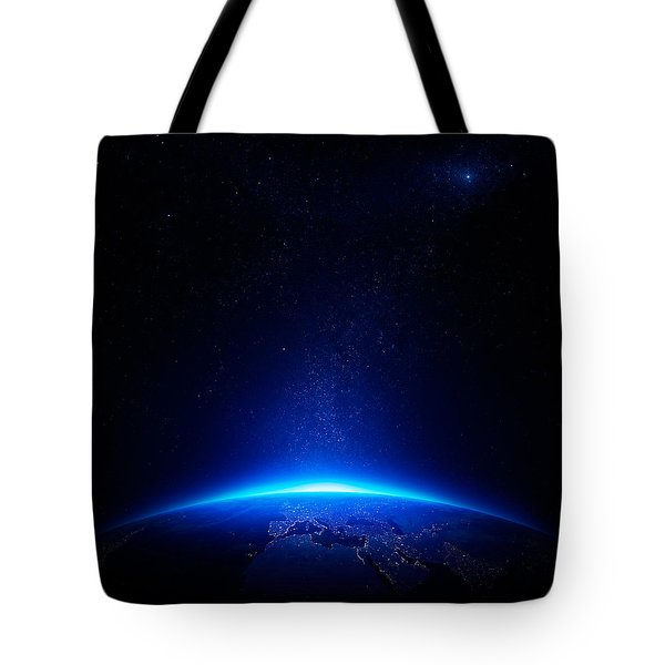 Earth at night with city lights Tote Bag by Johan Swanepoel
