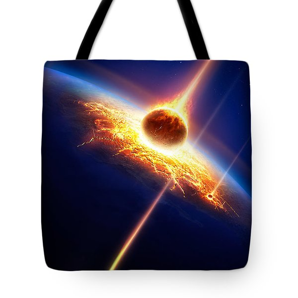 Earth In A  Meteor Shower Tote Bag by Johan Swanepoel