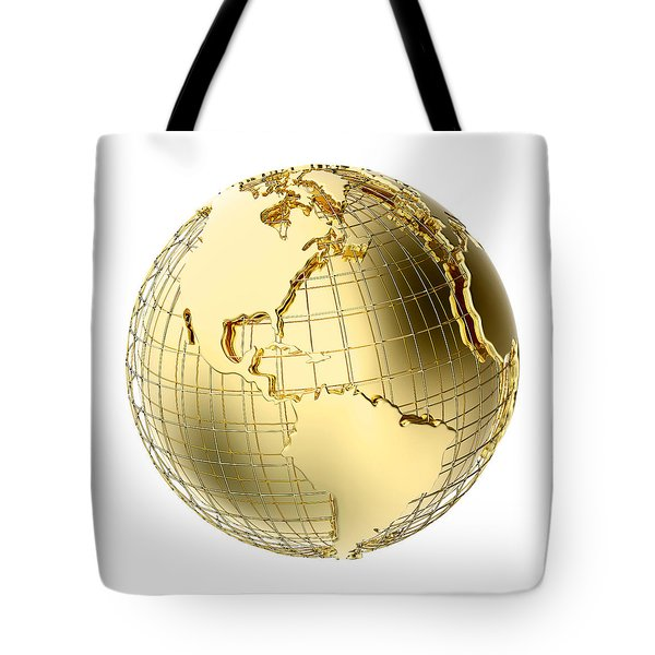 Earth in Gold Metal isolated on white Tote Bag by Johan Swanepoel