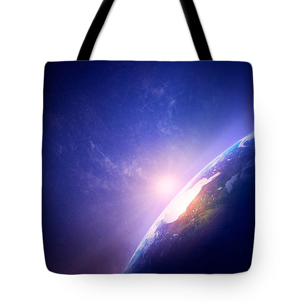 Earth Sunrise In Foggy Space Tote Bag by Johan Swanepoel