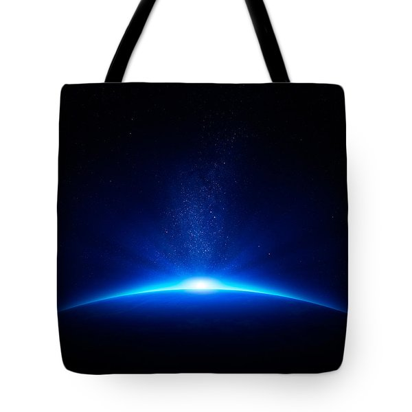 Earth sunrise in space Tote Bag by Johan Swanepoel