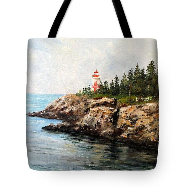 East Quoddy Head Light Tote Bag by Lee Piper