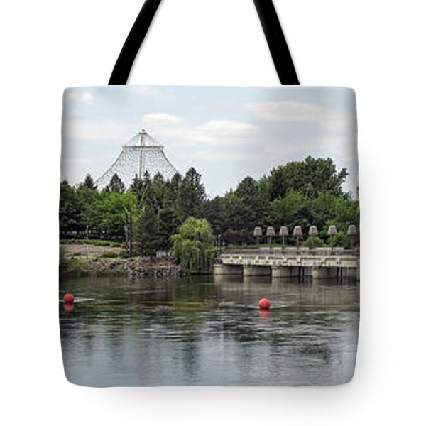 East Riverfront Park And Dam - Spokane Washington Tote Bag by Daniel Hagerman