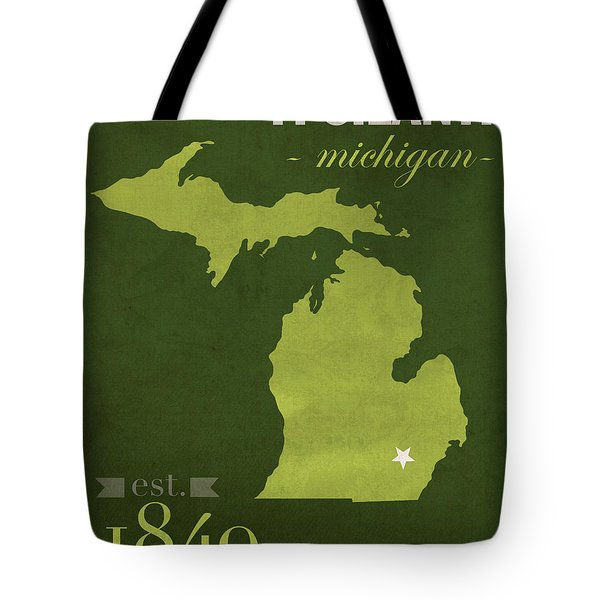 Eastern Michigan University Eagles Ypsilanti College Town State Map Poster Series No 035 Tote Bag by Design Turnpike