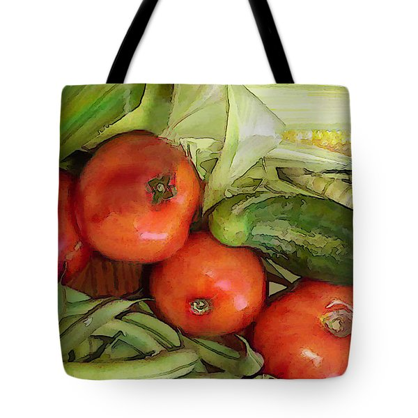 Eat Your Veggies Tote Bag by Elaine Plesser
