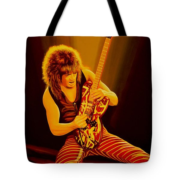 Eddie Van Halen Painting Tote Bag by Paul Meijering