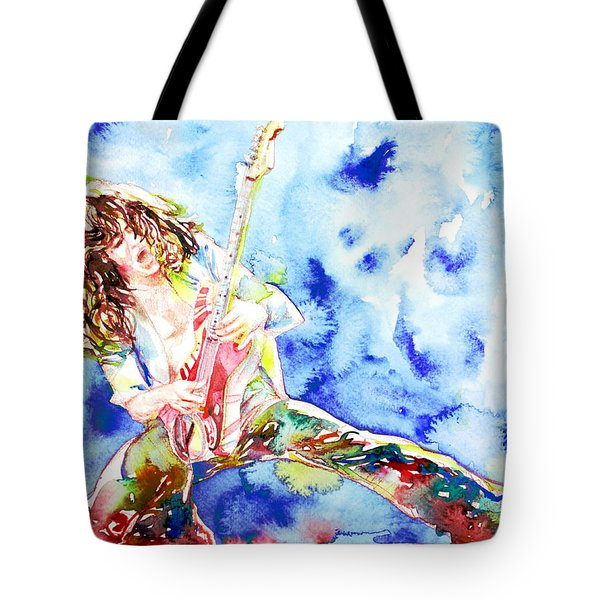 Eddie Van Halen Playing The Guitar.1 Watercolor Portrait Tote Bag by Fabrizio Cassetta