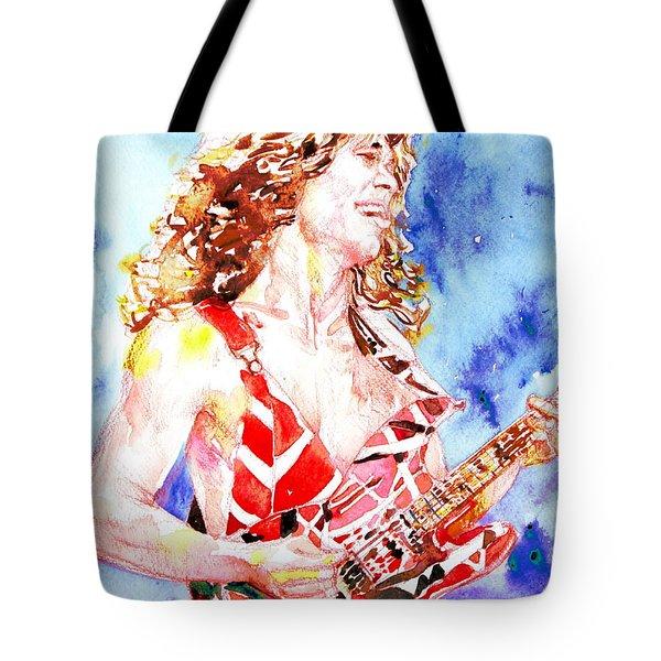 Eddie Van Halen Playing The Guitar.2 Watercolor Portrait Tote Bag by Fabrizio Cassetta