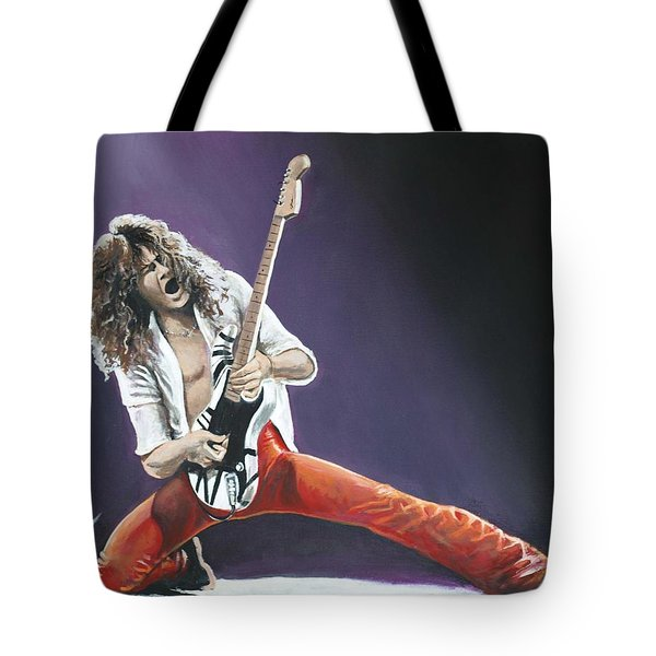 Eddie Van Halen Tote Bag by Tom Carlton