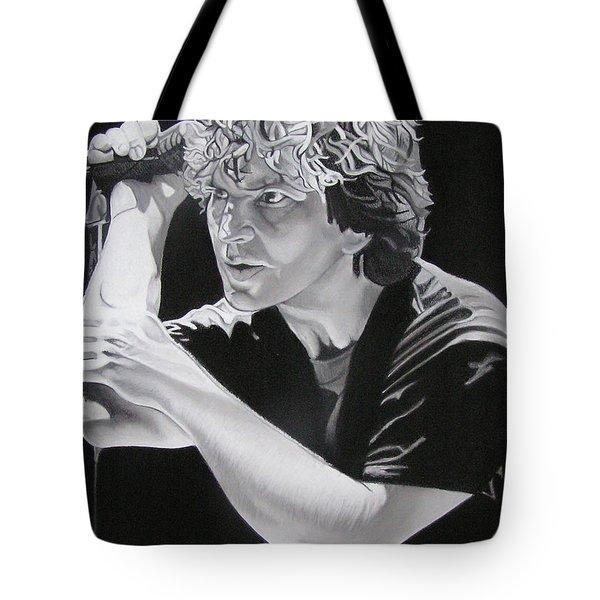 Eddie Vedder Black And White Tote Bag by Joshua Morton