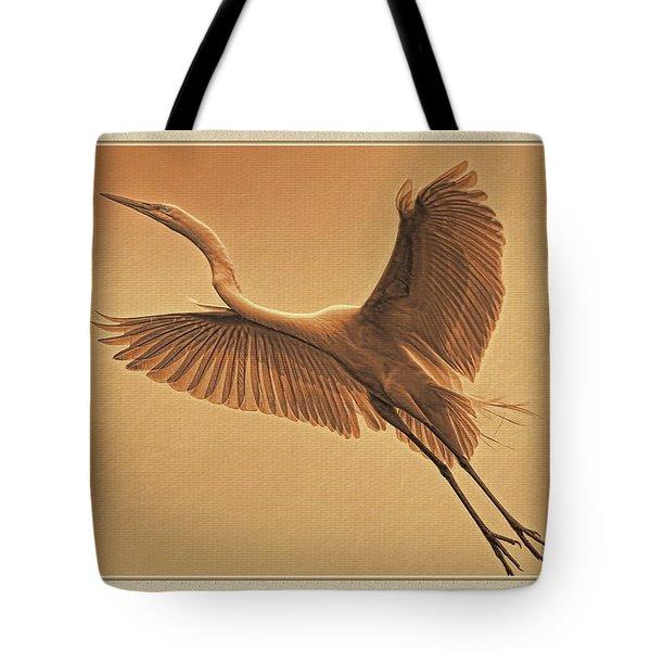 Egret Sepia Tote Bag by Deborah Benoit