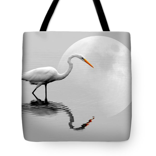 Egret With Moon  Tote Bag by Diana Angstadt