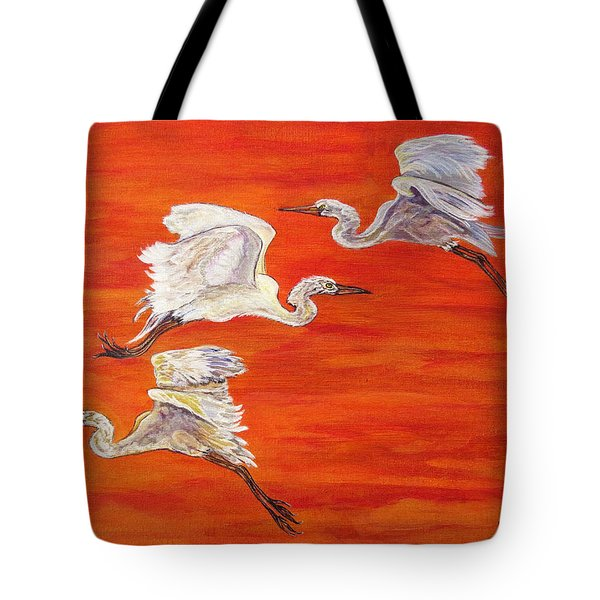 Egrets In Flight Tote Bag by Ella Kaye Dickey
