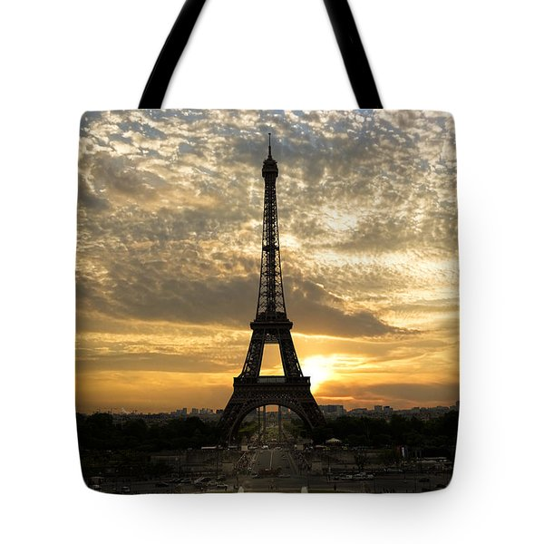 Eiffel Tower at Sunset Tote Bag by Debra and Dave Vanderlaan