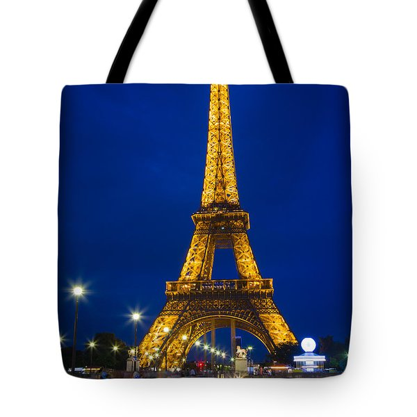Eiffel Tower By Night Tote Bag by Inge Johnsson