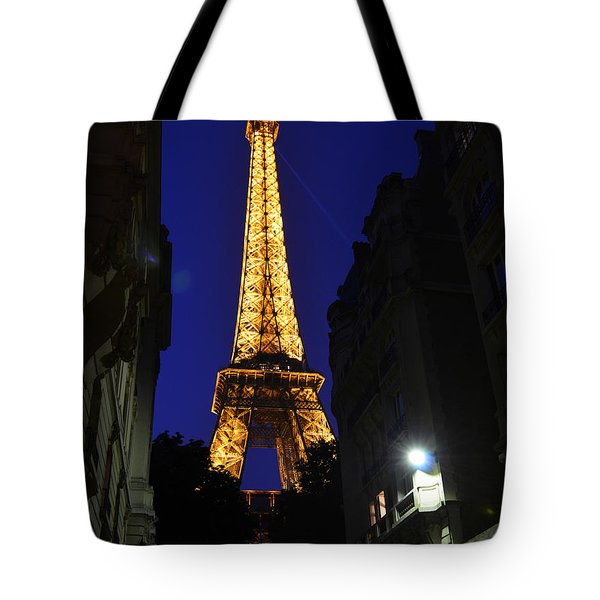Eiffel Tower Paris France At Night Tote Bag by Patricia Awapara